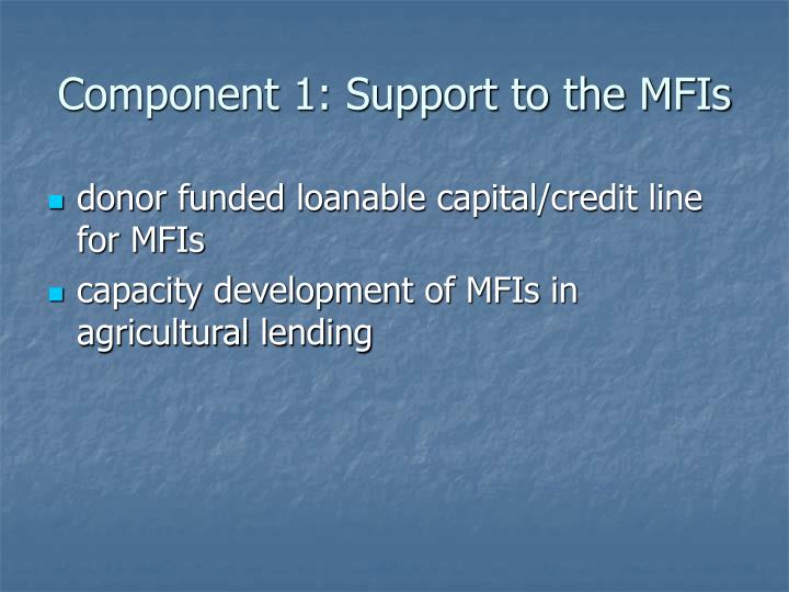 Component 1: Support to the MFIs
