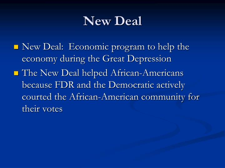 economic programs post depression the new deal There was a great depression, then the new deal, then world war ii also, that america emerged from that war as the world's economic powerhouse and embarked on an astonishing period of growth.