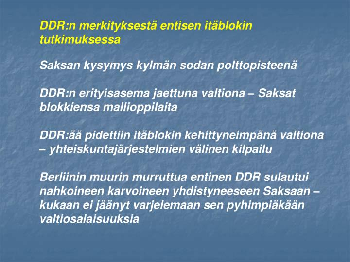 DDR:n merkityksestä entisen itäblokin tutkimuksessa