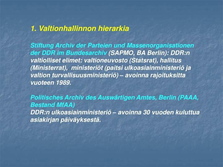 1. Valtionhallinnon hierarkia