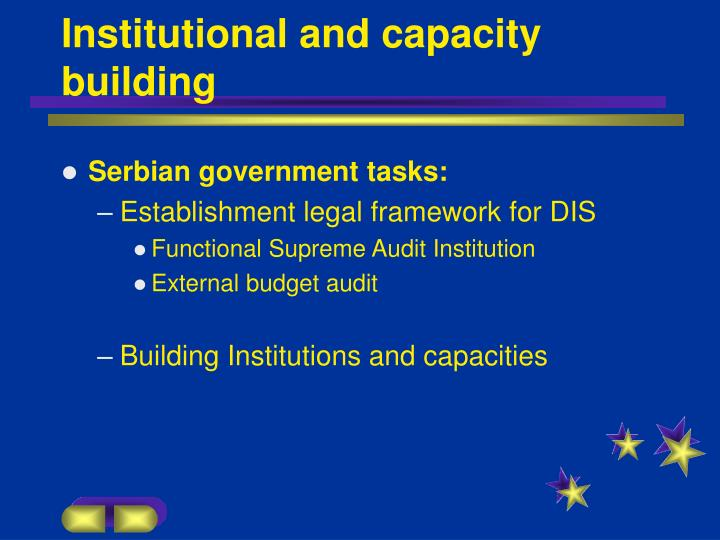Institutional and capacity building