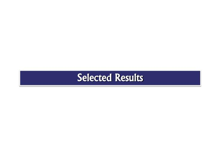 Selected Results