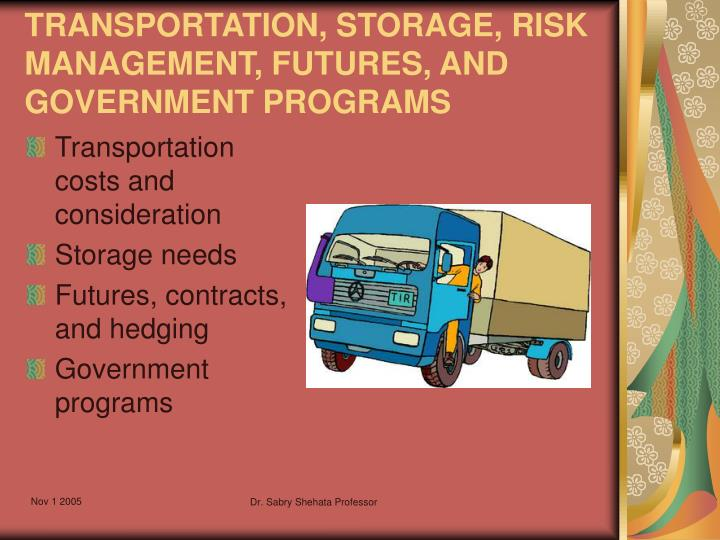 transportation storage risk management futures and government programs