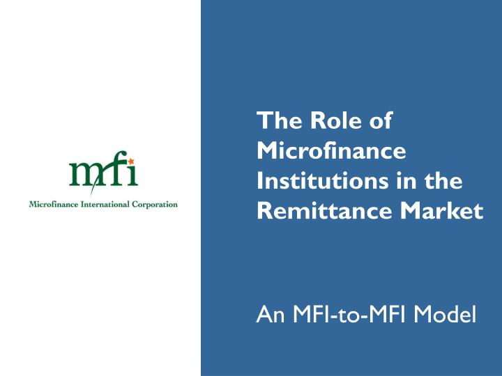 the role of microfinance banks in