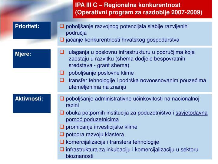 IPA III C – Regionalna konkurentnost (Operativni program za razdoblje 2007-2009)