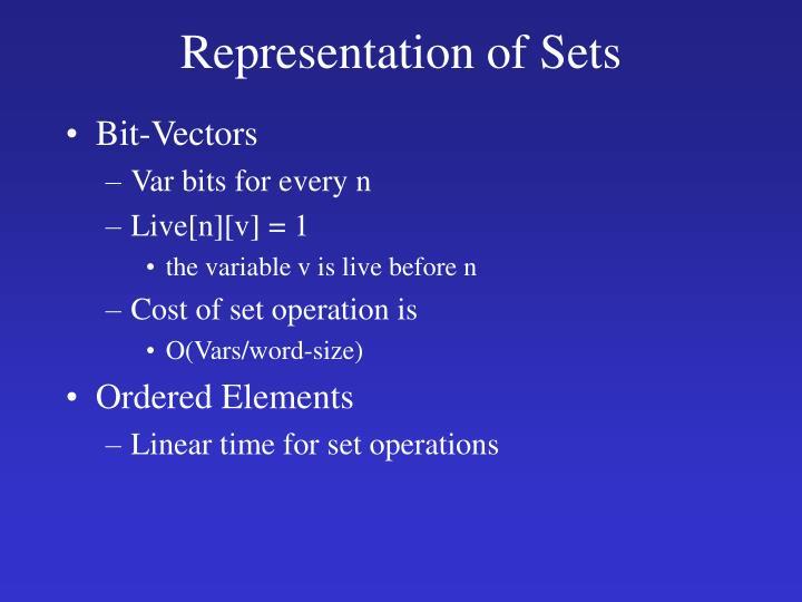 Representation of Sets