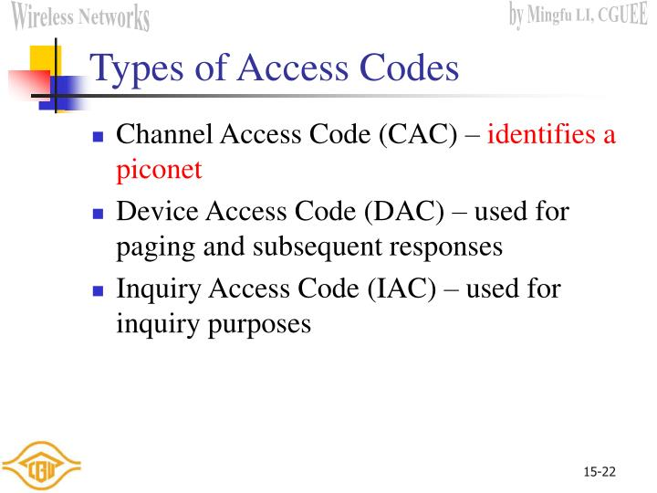 Types of Access Codes