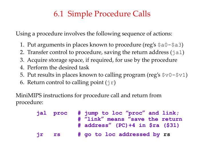 6.1  Simple Procedure Calls