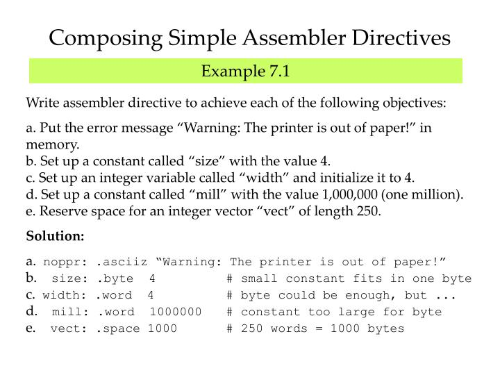 Composing Simple Assembler Directives