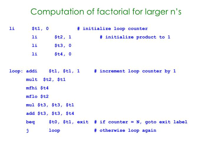 Computation of factorial for larger n's