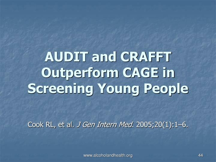 AUDIT and CRAFFT Outperform CAGE in Screening Young People
