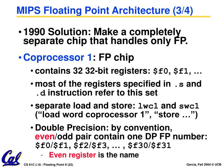 MIPS Floating Point Architecture (3/4)