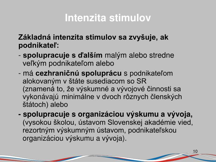 Intenzita stimulov