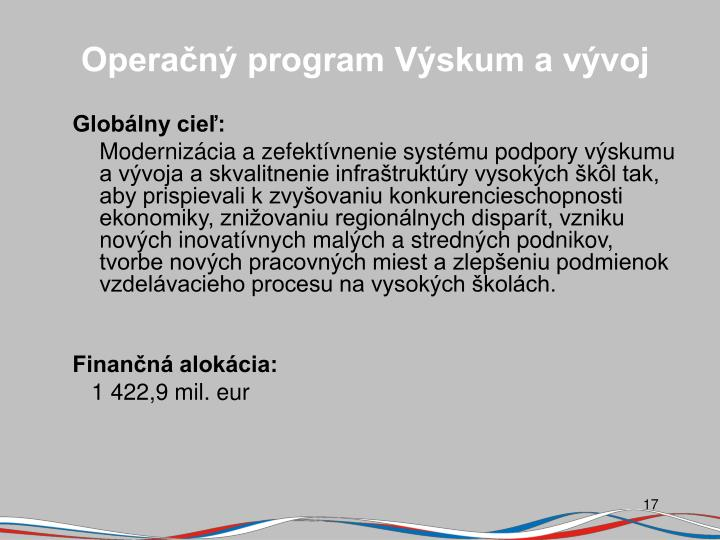 Operačný program Výskum a vývoj