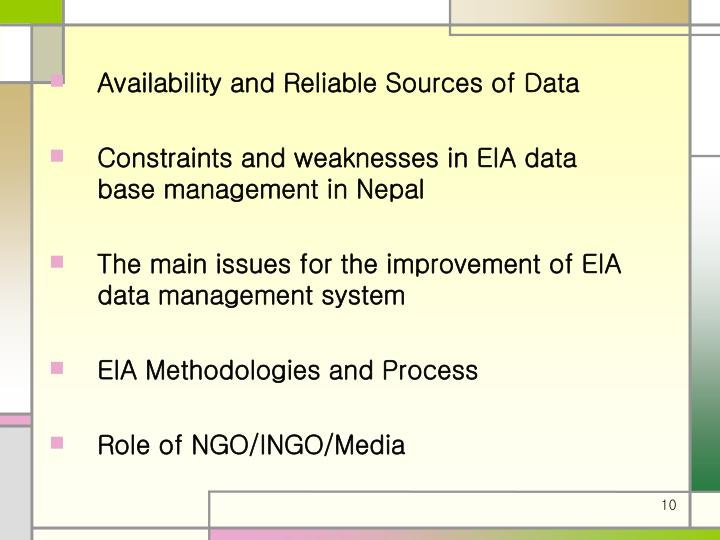 Availability and Reliable Sources of Data