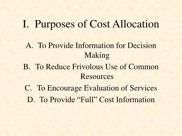 I purposes of cost allocation