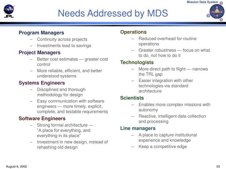 Needs Addressed by MDS