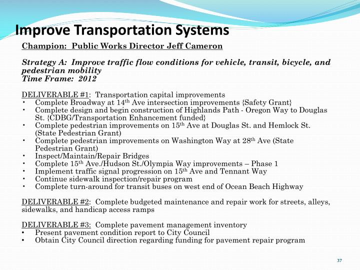 Improve Transportation Systems