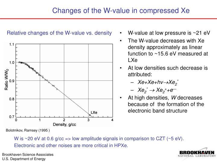 W-value at low pressure is ~21 eV