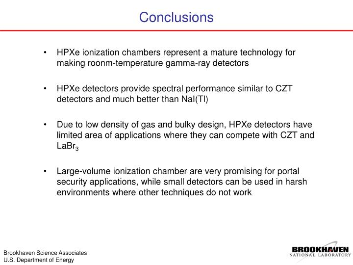 HPXe ionization chambers represent a mature technology for making roonm-temperature gamma-ray detectors