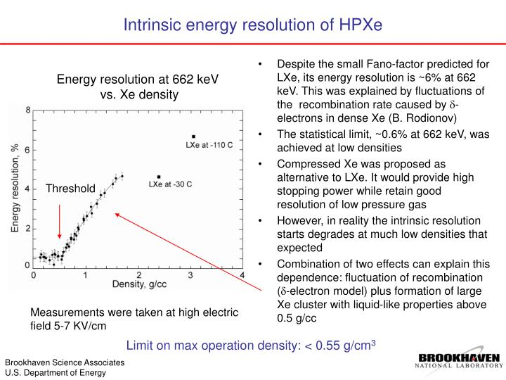 Despite the small Fano-factor predicted for LXe, its energy resolution is ~6% at 662 keV. This was explained by fluctuations of the  recombination rate caused by