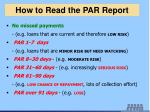 how to read the par report