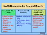 mabs recommended essential reports