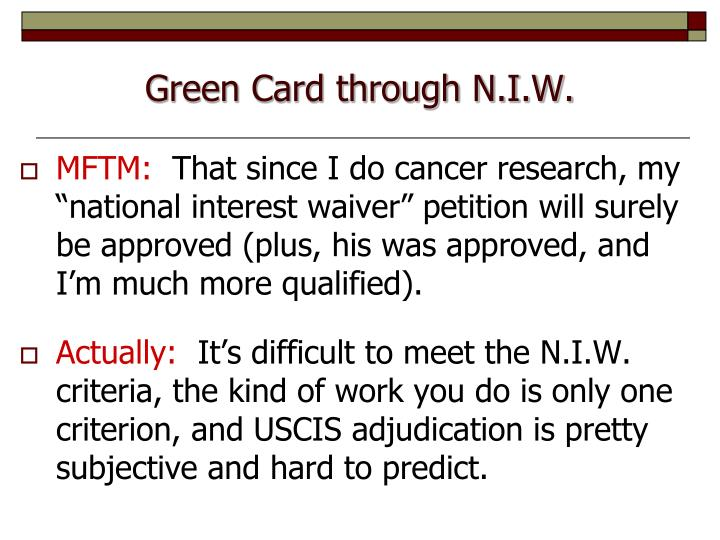 Green Card through N.I.W.