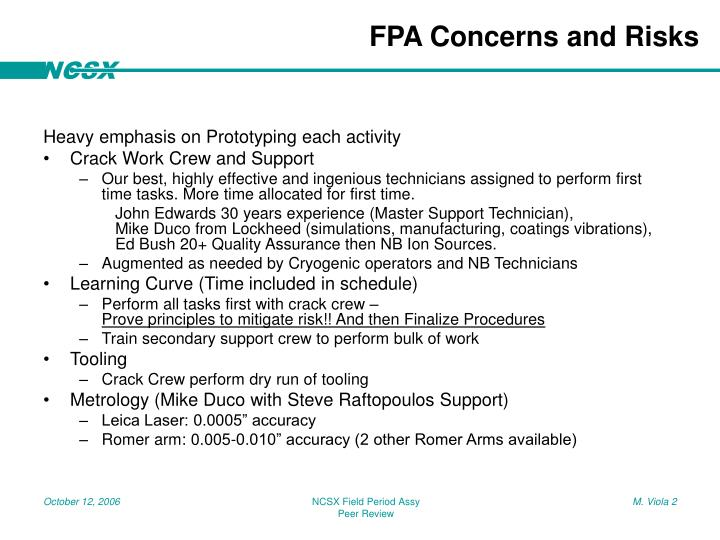 Fpa concerns and risks