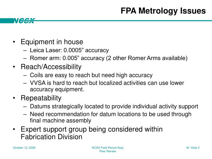 Fpa metrology issues