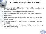 itsc goals objectives 2009 2012