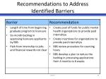 recommendations to address identified barriers3