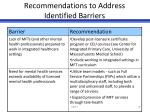 recommendations to address identified barriers6
