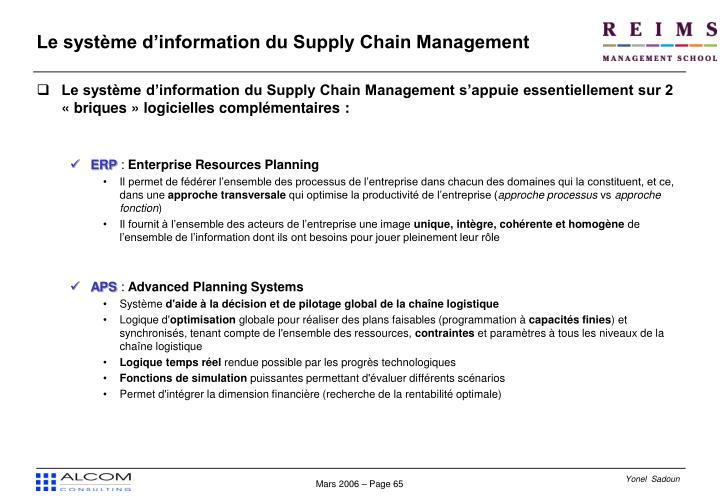 Le système d'information du Supply Chain Management