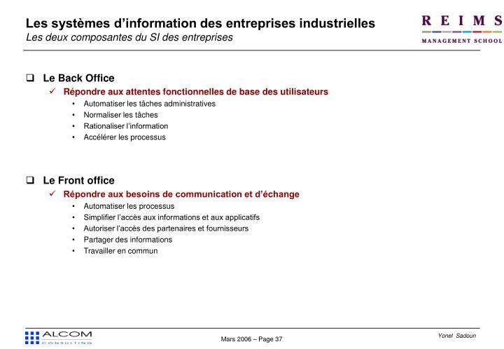 Les systèmes d'information des entreprises industrielles