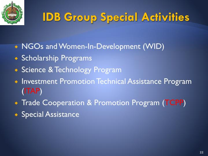 IDB Group Special Activities