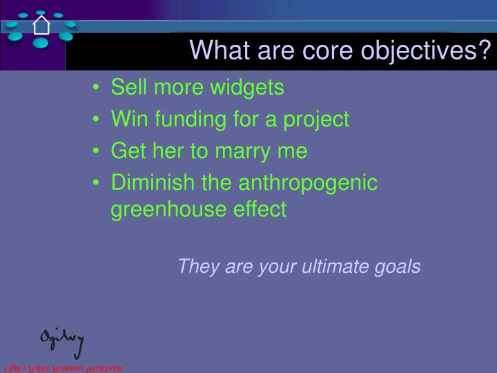 What are core objectives?