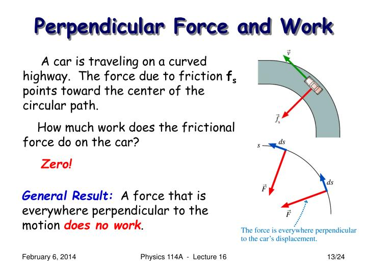 Perpendicular Force and Work