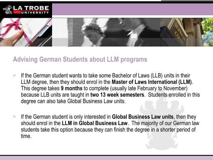 Advising German Students about LLM programs