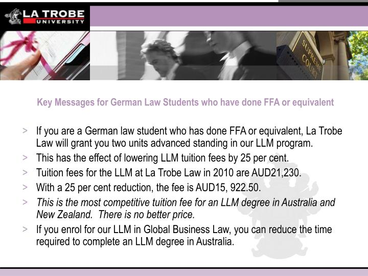Key messages for german law students who have done ffa or equivalent