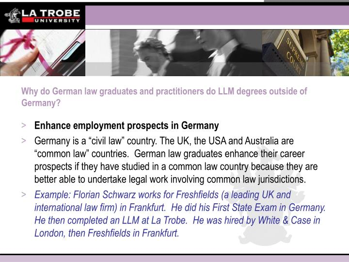 Why do German law graduates and practitioners do LLM degrees outside of Germany?