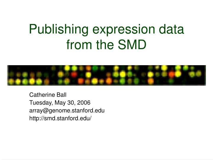 publishing expression data from the smd n.