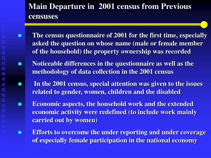 Main Departure in  2001 census from Previous censuses