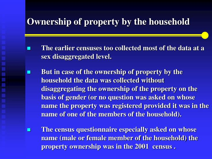 Ownership of property by the household
