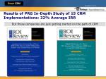 results of prg in depth study of 15 crm implementations 32 average irr