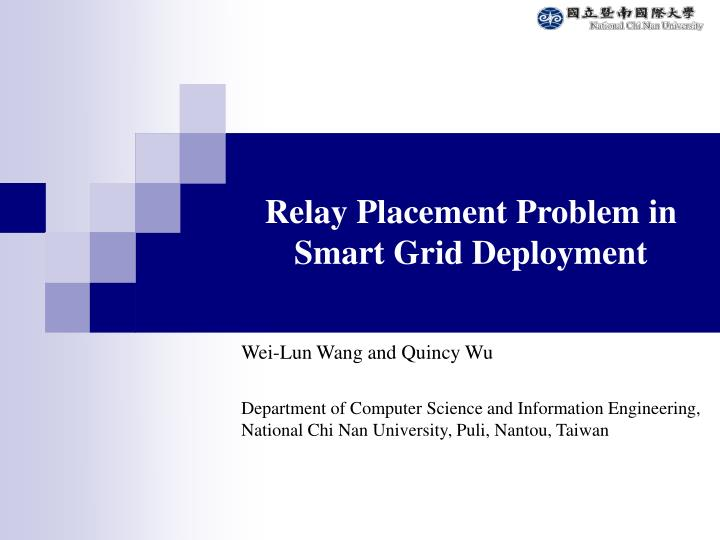 Ppt - Relay Placement Problem In Smart Grid Deployment Powerpoint Presentation