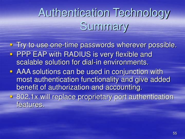 Authentication Technology Summary
