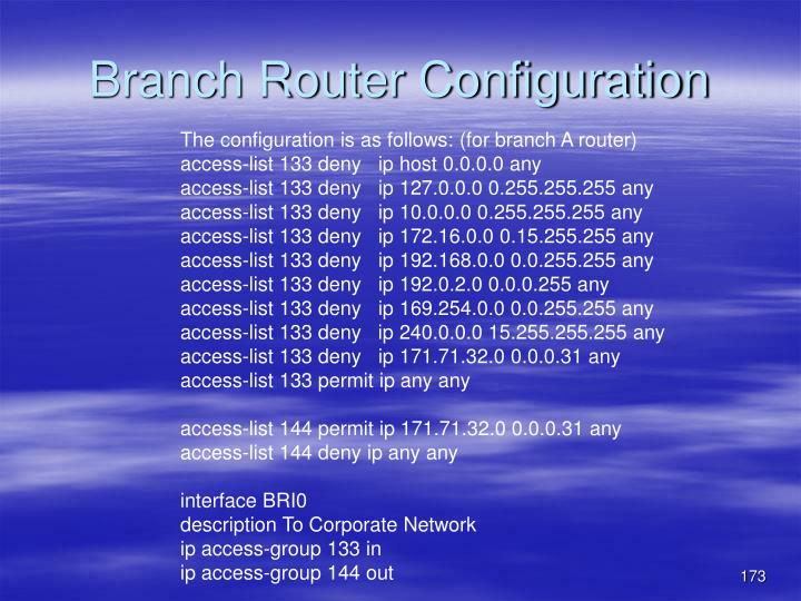 Branch Router Configuration