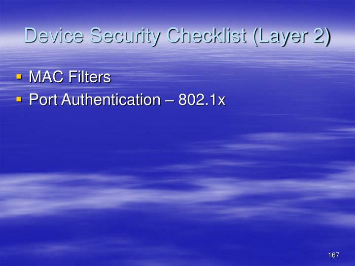 Device Security Checklist (Layer 2)