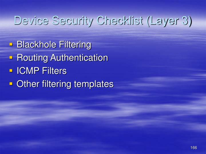 Device Security Checklist (Layer 3)